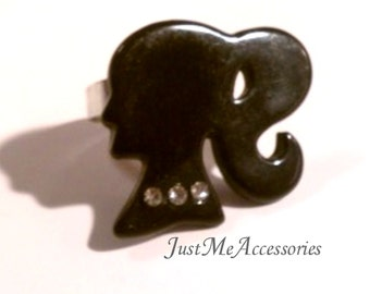 Black Barbie Silhouette Wth Bling Adjustable Ring