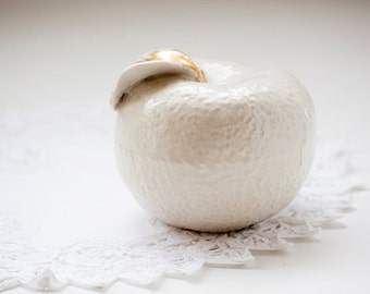 Vintage white textured porcelain apple with gold leaf, made in Japan