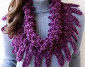 CROCHET COWL PATTERN, Women's Scarf Cowl Chunky Fringe, Purple Scarf, Easy Fast Unique Crochet Cowl Diy, Instant Download Pdf Pattern No.127