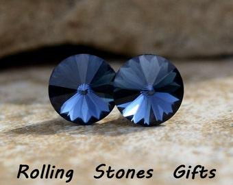 8.4mm Montana Swarovski Rivoli Rhinestone Earring-Montana Blue Crystal Studs-Swarovski Studs