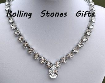 Crystal Swarovski Rhinestone Rhodium Plated Multi Stone Teardrop Necklace-Adjustable Crystal Pear Swarovski Crystal Rhodium Plated Necklace