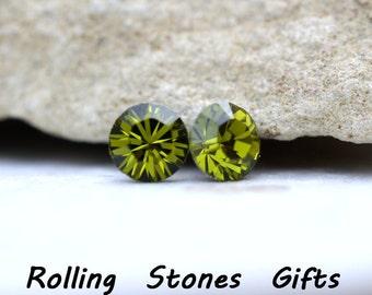 5.44mm Olivine Swarovski Round Crystal Stud Earrings-Rhinestone Studs-Green Rhinestone Studs-Handmade Studs-Vintage Olive Green Earrings