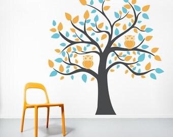 Bright Owl Tree Vinyl Wall Decal-Nursery Tree Sticker, Owl Tree Decal, Nature Wall Decal, Tree Wall Sticker, Owl Wall Decor,Owl Tree Sticker