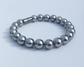 Magnetic hematite bracelet - lustrous grey pearl finish - custom sized
