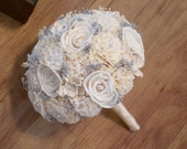Wedding Bouquet, Sola wood Bouquet, Ivory Silver Bouquet, Alternative Bouquet, Bouquet, Sola flowers, Wood Bouquet