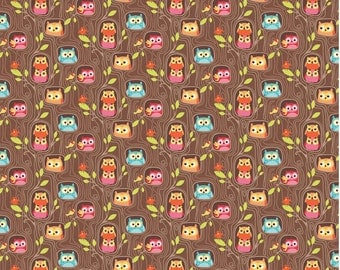 Happy Flappers - 1 Yard Cut - Novelty Fabric - Hide out Brown - Cotton Fabric - Riley Blake Designs - Owl Fabric