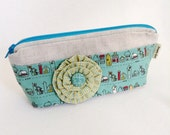 Teal and Linen Cosmetic Bag - Makeup Pouch - Small Zippered Pouches - Cute Pencil Pouches