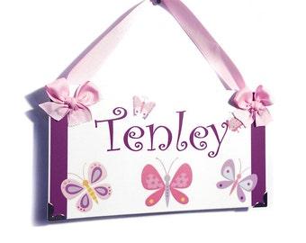 pink and purple butterflies personalized baby girl bedroom door sign  nursery decor - P2015