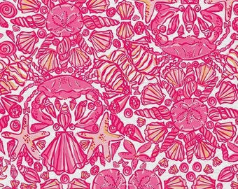 Lilly Pulitzer Fabric Hotty Pink Sailors Valentine 18  X 18 inches
