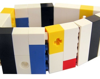 Geek chic Primary Colors bracelet - made from LEGO (R) bricks on stretchy cords - MONDRIAN Bauhaus De Stijl