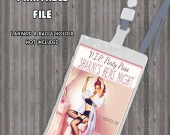 Vintage Pin Up Girl Lanyard Badge Image VIP Printable- Bachelorette party, Hens night, Lingerie Shower Birthday invite diy print file