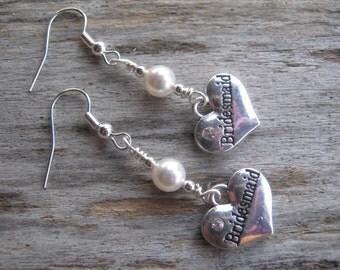 Personalized Bridesmaid Earrings, Wedding Earrings, Pearl Earrings, Swarovski, Bridal Party Earrings, Dangle, Heart Earrings, Bridesmaid