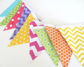 Fabric Bunting Banner Flags, Baby Girl's Nursery, Birthday Party, Pink Purple Yellow Green Chevron