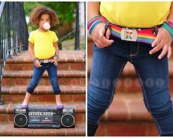 Toddler Belt- Childrens Belt- Girls Belt -Rainbow Belt - Kids Belt- Custom Buckle- Rainbow