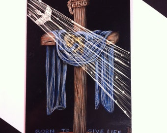 Christian Art, Cross Art, Original Art, Christmas, Easter, Scratch Board, Scratch Art