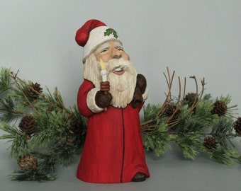 Hand Carved Santa Claus Wood Carving Collectible Holiday Decoration Wood Sculpture Christmas Gift One of a Kind Wood Carved Figurine