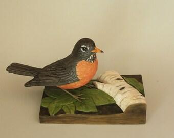 Robin Woodcarving Hand Carved Songbird Wood Sculpture Collectible Wooden Bird Art or Bird Figurines Gift for The Bird Watcher