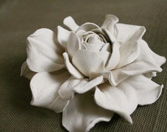 Ivory Rose Flower Brooch
