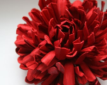 Red  Leather  Flower Brooch/ Hairclip