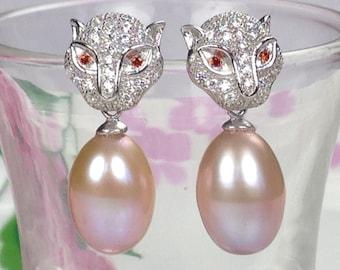 Teardrop Pearl Earrings, Leopard Sterling Silver Earrings, Sparkly Diamond Paved Stone Earrings, Blush Tan Pearl earrings, Handmade Earrings