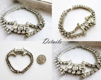 Vintage Clear Rhinestone Bracelet in Silver Tone
