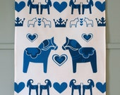 Swedish Blue Dala Horse Printed Tea Towel in Blue and White on Linen Cotton