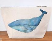 Blue Whale Canvas Wash Bag, Large Zipper Pouch, Makeup Bag, Toiletry Bag, Accessory Bag