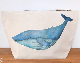 Blue Whale Canvas Wash Bag, Large Zipper Pouch, Makeup Bag, Toiletry Bag, Accessory Bag