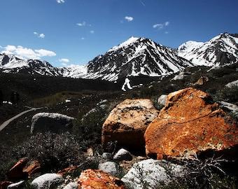 Mountain Print - Landscape Mountain Photography Art - Mountain Picture - Long Valley Rocks Geology California - Fine Art 5x7 8x10 8x12 Print