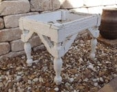 Antique Vintage Shabby Wooden Footstool Gingerbread