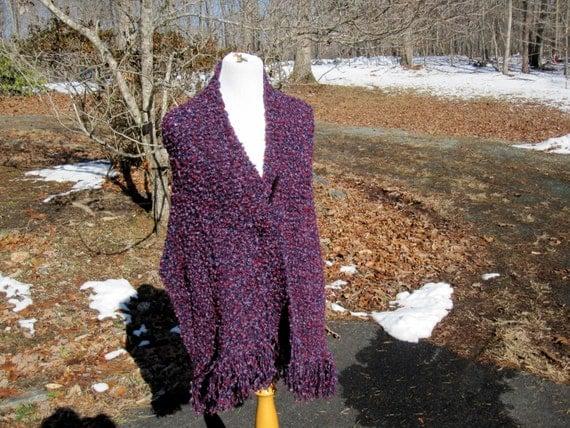 Handmade Wrap Knit Shawl Purple Blue Red  Boucle with Fringe
