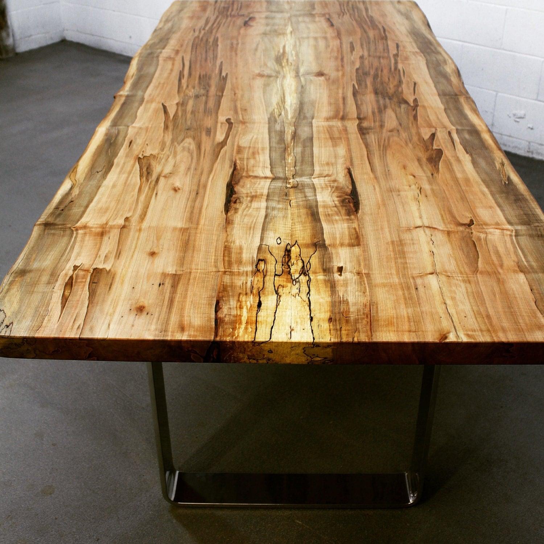 Maple live edge dining table -  Live Edge Salvaged Maple Dining Table Custom Metal Legs Chrome Modern Design Zoom