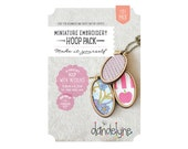 Mini oval embroidery hoop frames with necklace chains and BONUS brooch backs - PACK OF 3 - 34mm x 62mm - mini embroidery hoops