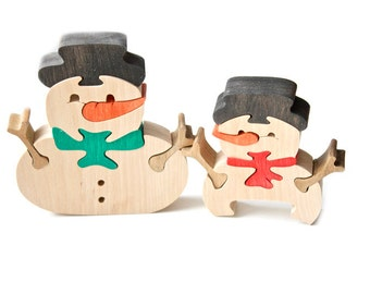 Puzzle 2 Snowmen. Handmade wooden puzzle game. Kids toy. Wooden eco friendly toys for babies, children, kids