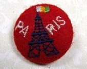 """PARIS BUTTON, Fun, Felt and Embroidery, 1 1/4"""", Metal Shank, Eiffel Tower, Vintage Sewing Supply"""