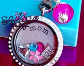 Customized Floating Locket on Chain Necklace- Includes ONE Stamped Plate, ONE Dangle and SIX charms of your choice