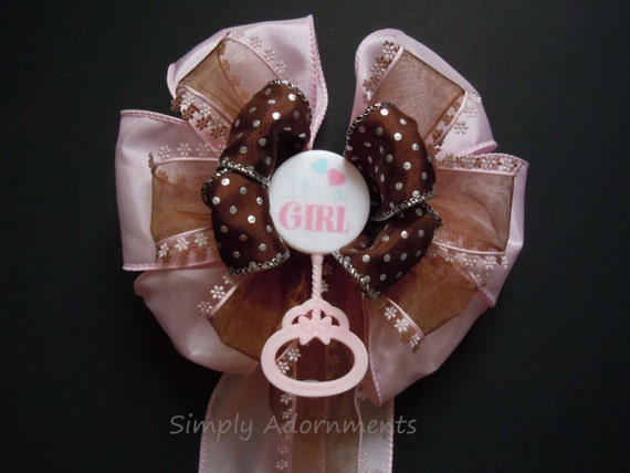 Baby Shower Corsage Gift Bow Baby Girl Shower Wreath Bow It's a Girl Shower Party Decorative Bow Packaging Baby Girl Gift Bow