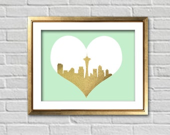 Seattle Skyline Silhouette Faux Gold Glitter Home Decor Art Print