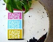 """NOTECARDS Set of 4 """"Faith Hope Love"""" - Modern Minimal Simple Greeting Cards - Scripture Christian notes"""