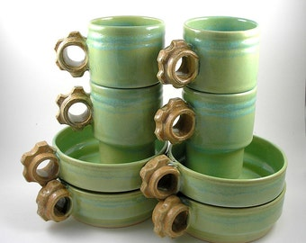 SALE! Coffee Cups and Soup Bowls in Chartreuse and Rust Stackable set of 8