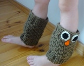Knit Boot Cuff, Children Knit Boot Cuffs,Girls Knit Boot Cuff, Brown color, owl, wellies boot cuff,  knit leg warmers Christmas gift,
