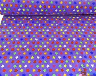 0,5 x 1,50 m cotton knit fabric LITTLE STARS jersey, 95/5% cotton/spandex, purple, lilac