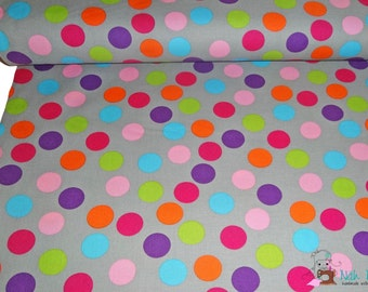 0,5 x 1,48 m COTTON fabric Multicoloured DOTS on GREY, 100% cotton