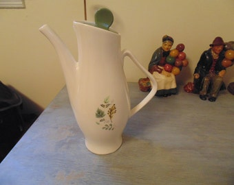 Vintage Teapot or Coffee Pot with Maple Leaf and Fern Decor