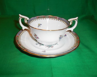Two (2), Bone China, Flat Bouillon Cups & Saucers, from Spode Copeland China, in the Lowestoft Flowers C 1703 Pattern.