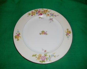 "One (1), Porcelain, 7 7/8"" Salad Plate, from NSPC China (F&B Japan) Meito China, in the Lucille Pattern."