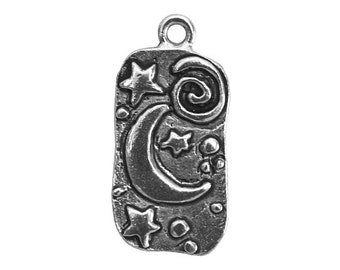 3 Moon and Stars 1 inch ( 25 mm ) Pewter Charms