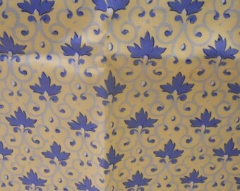 French Country Fleur Di Lis Motif, Yellow and Blue, Yardage