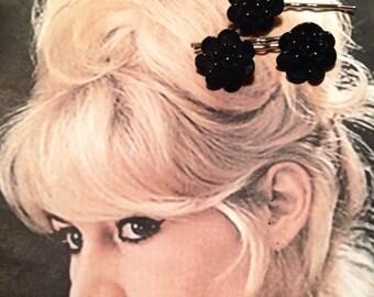 Black Glass Hair Pins 1940 1950 Vintage Jet Decorative West Germany Hairpins Bobby Pins, Set 3 Goth Gothic Burton