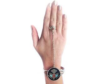 Real Silver Aztec Eagle Slave Ring & Bracelet vintage bird Jewelery
